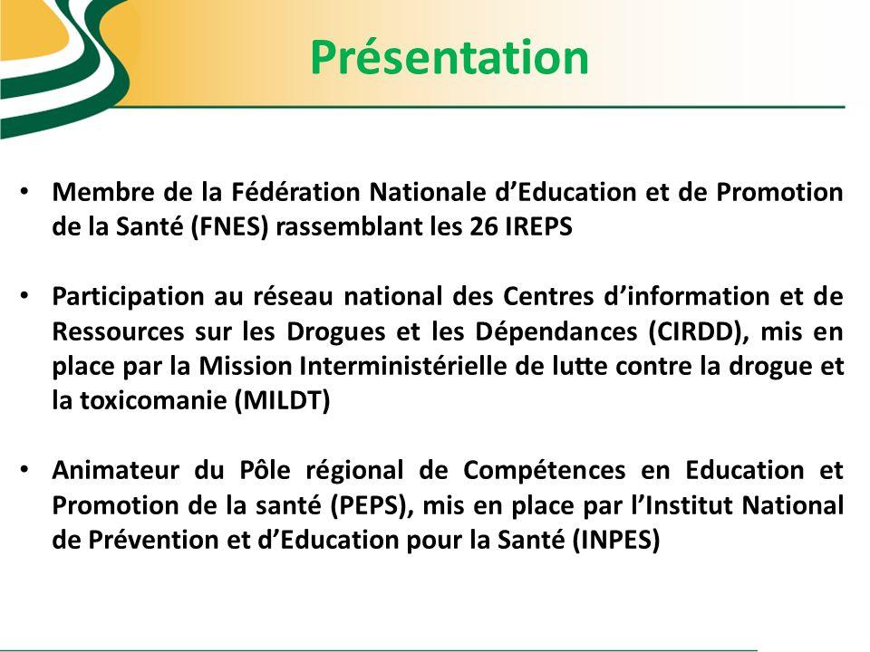 Présentation Membre de la Fédération Nationale d'Education et de Promotion de la Santé (FNES) rassemblant les 26 IREPS.