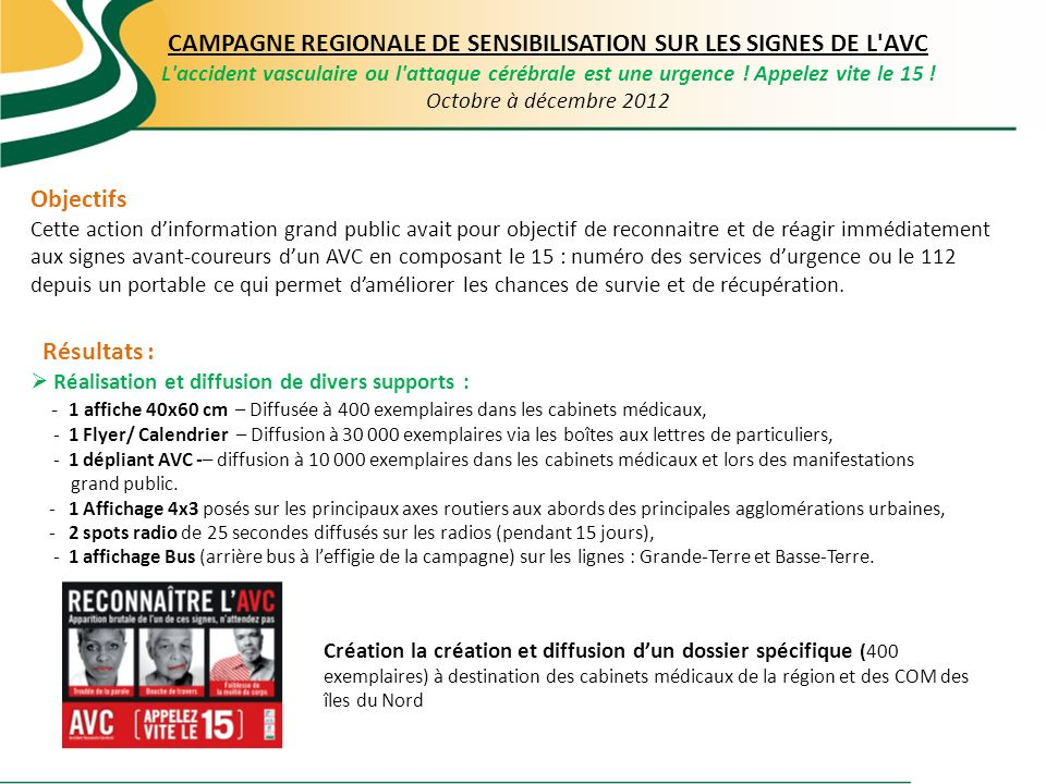 CAMPAGNE REGIONALE DE SENSIBILISATION SUR LES SIGNES DE L AVC