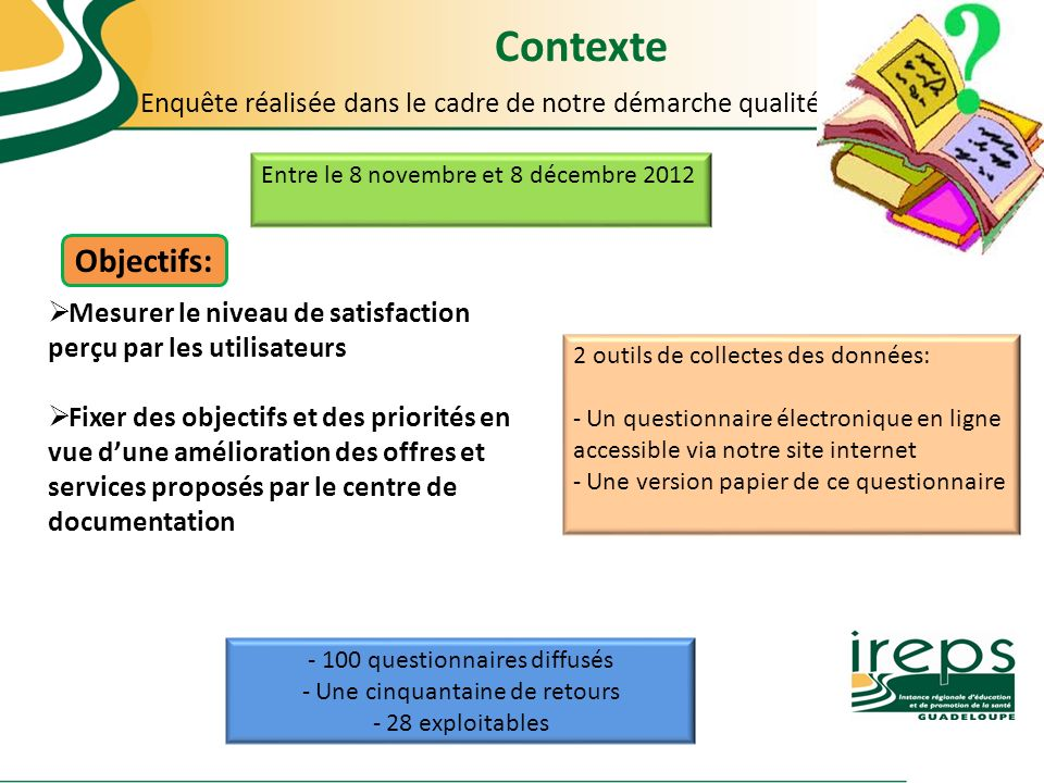 Contexte Enquête réalisée dans le cadre de notre démarche qualité. Entre le 8 novembre et 8 décembre 2012.