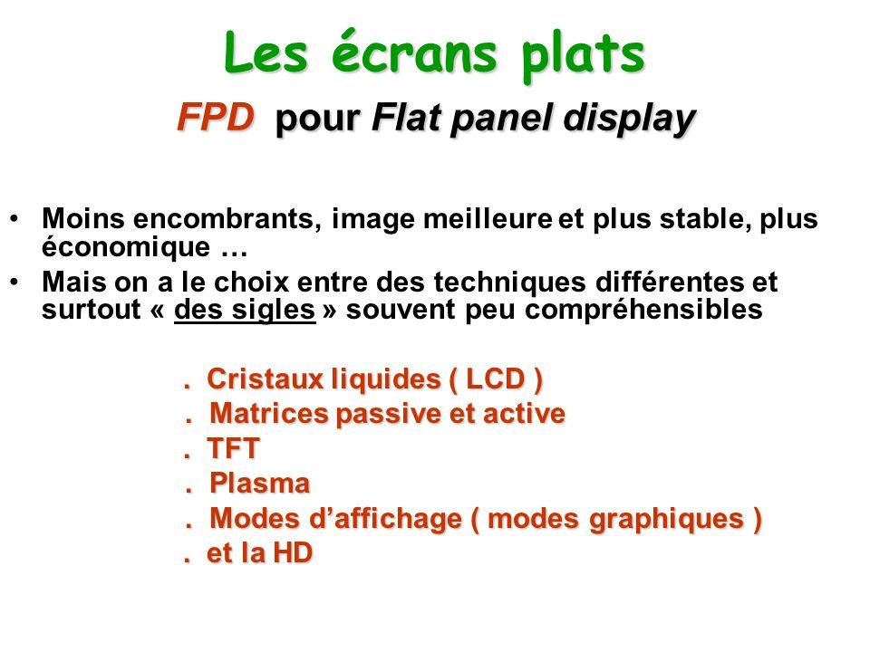 Les écrans plats FPD pour Flat panel display