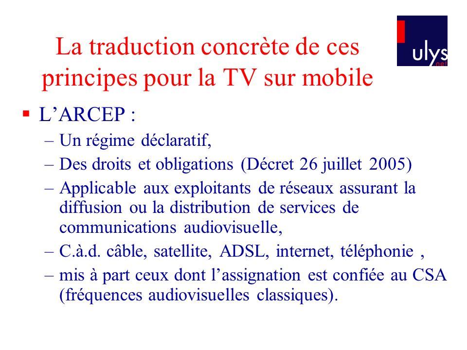 La traduction concrète de ces principes pour la TV sur mobile
