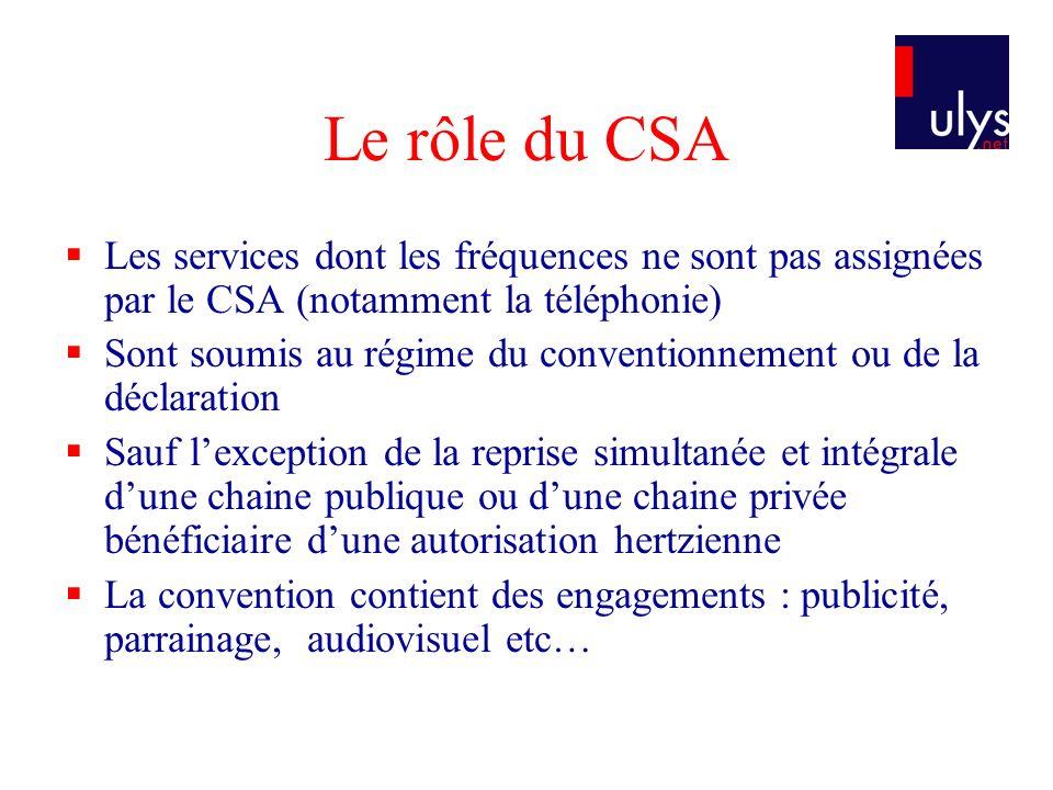 Le rôle du CSA Les services dont les fréquences ne sont pas assignées par le CSA (notamment la téléphonie)