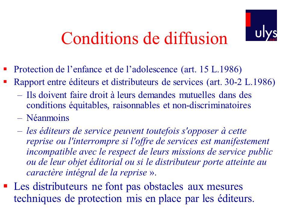 Conditions de diffusion