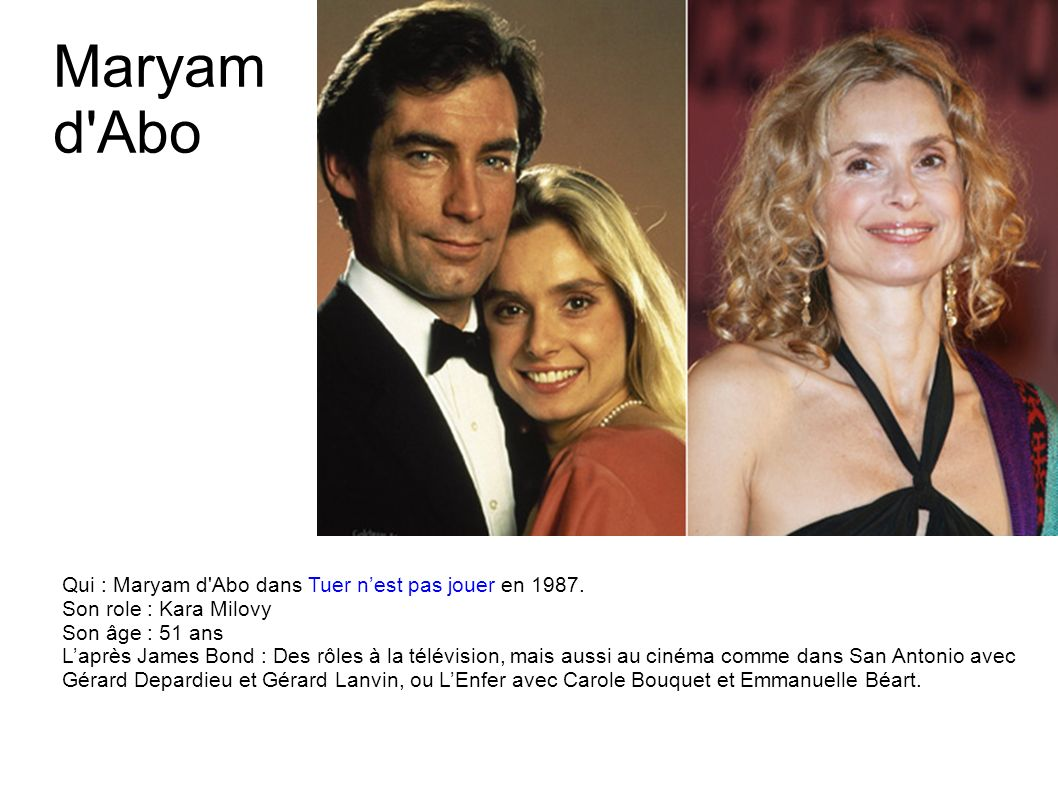 Maryam d Abo Qui : Maryam d Abo dans Tuer n'est pas jouer en 1987.