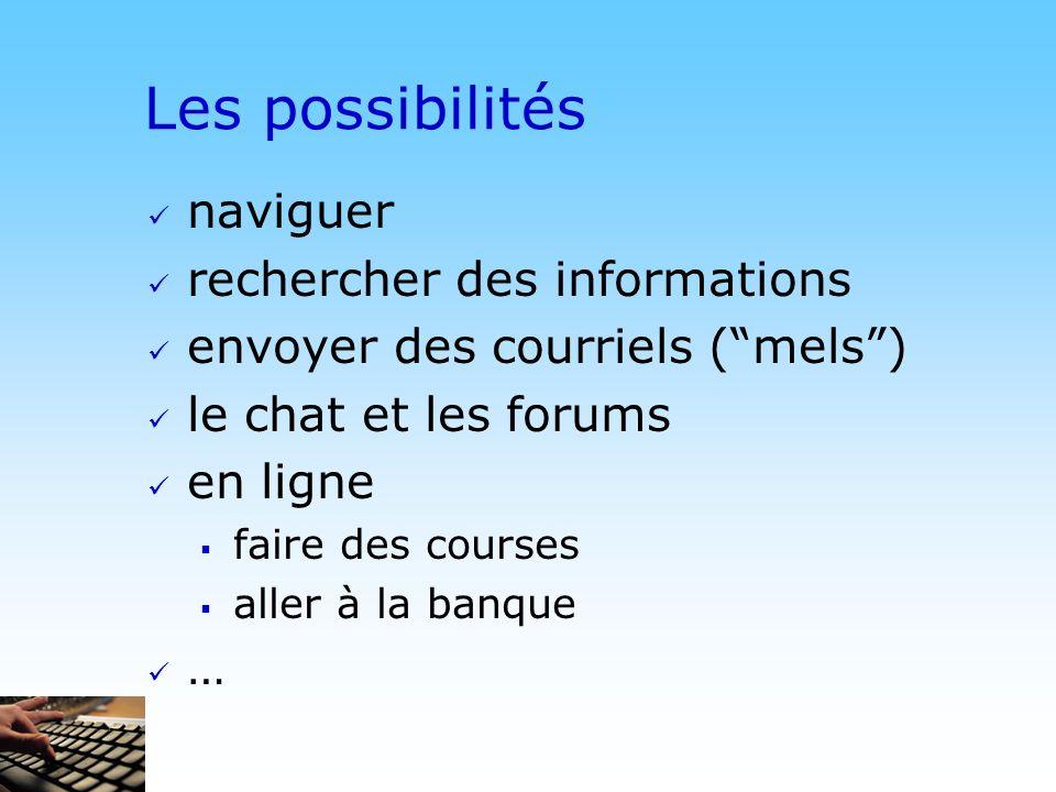 Les possibilités naviguer rechercher des informations