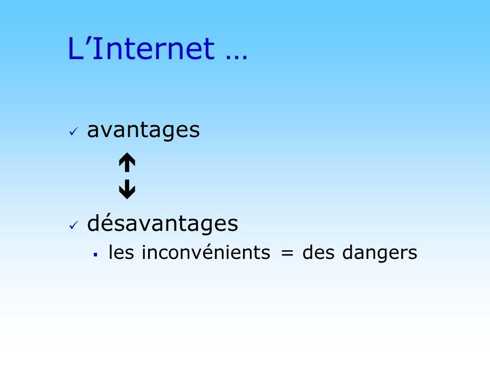 L'Internet … avantages   désavantages