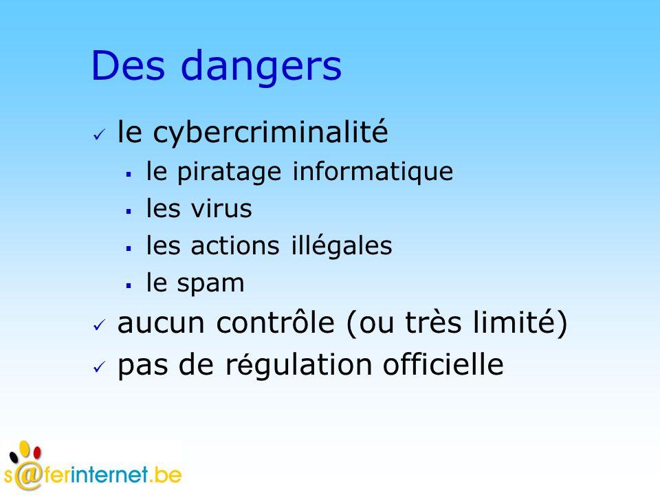 Des dangers le cybercriminalité aucun contrôle (ou très limité)
