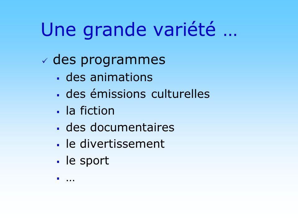 Une grande variété … des programmes des animations