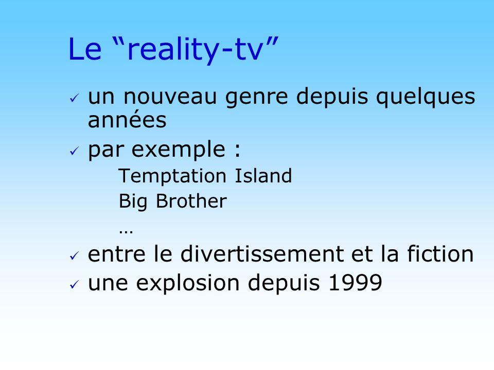 Le reality-tv un nouveau genre depuis quelques années par exemple :