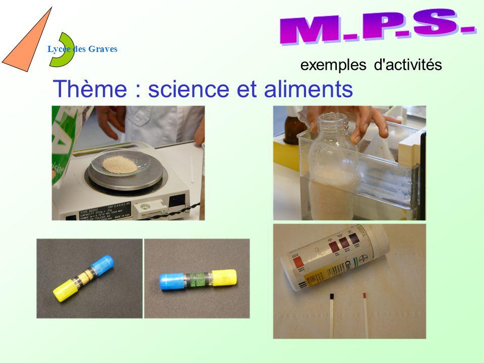 Thème : science et aliments