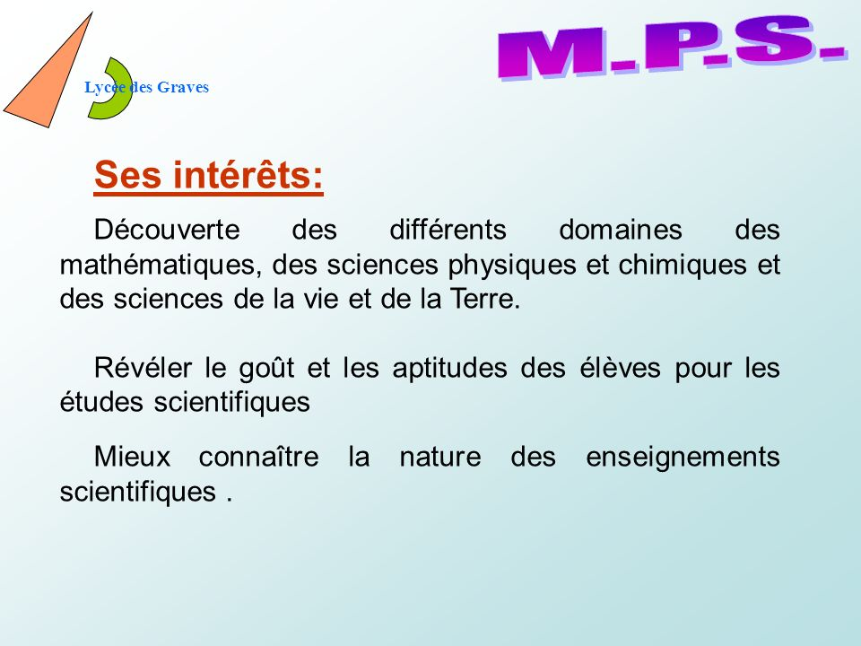 Lycée des Graves M.P.S. Ses intérêts: