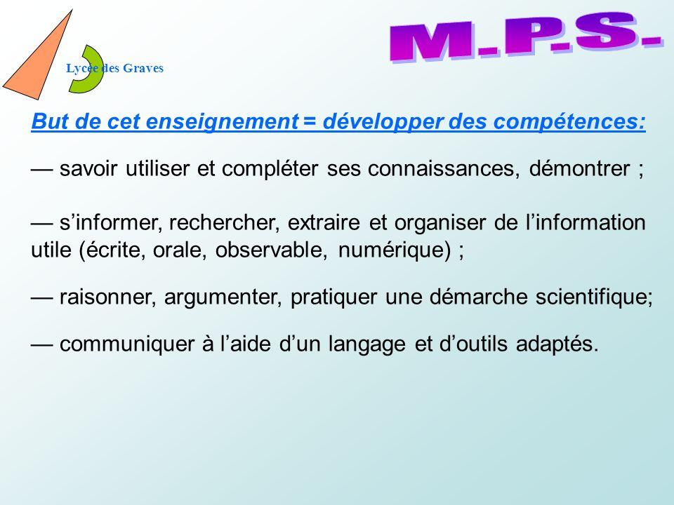 M.P.S. But de cet enseignement = développer des compétences: