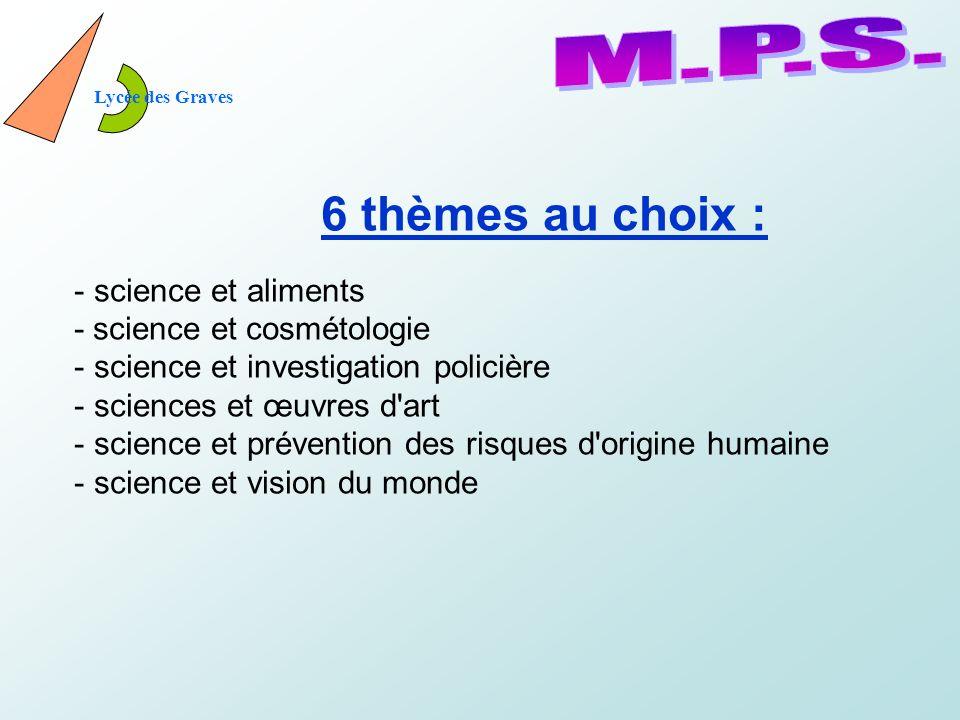M.P.S. 6 thèmes au choix : science et aliments