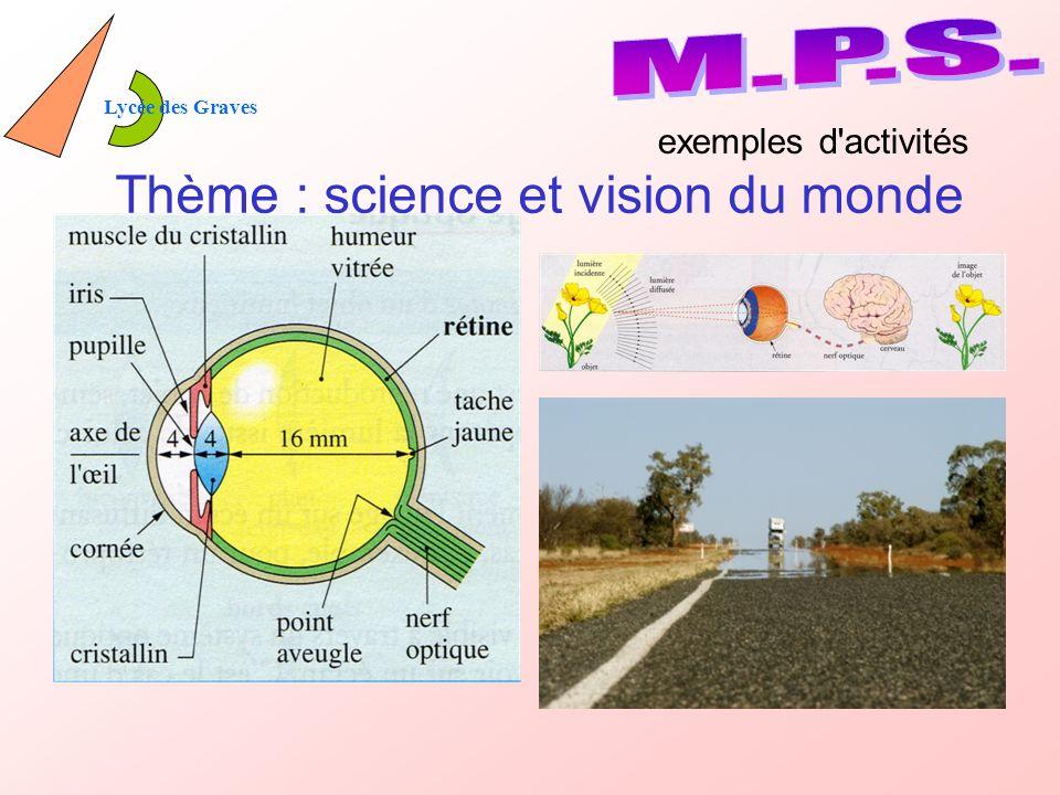 Thème : science et vision du monde