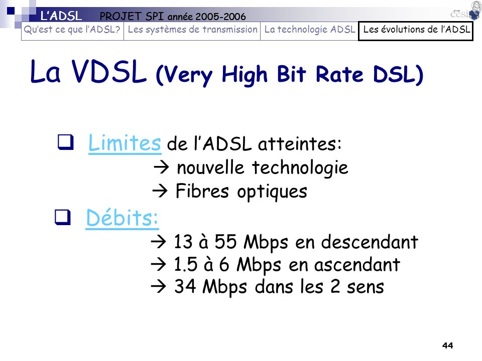 La VDSL (Very High Bit Rate DSL)