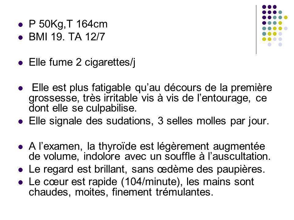 P 50Kg,T 164cm BMI 19. TA 12/7. Elle fume 2 cigarettes/j.