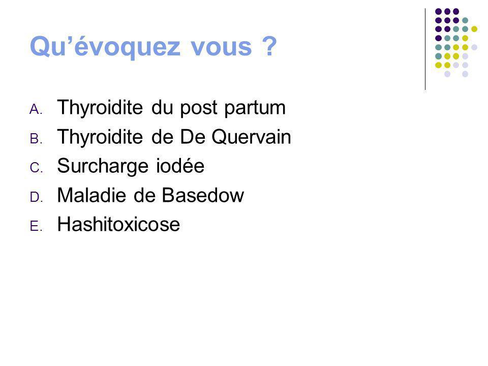 Qu'évoquez vous Thyroidite du post partum Thyroidite de De Quervain