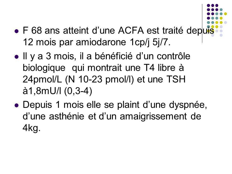 F 68 ans atteint d'une ACFA est traité depuis 12 mois par amiodarone 1cp/j 5j/7.