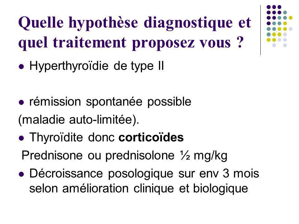 Quelle hypothèse diagnostique et quel traitement proposez vous