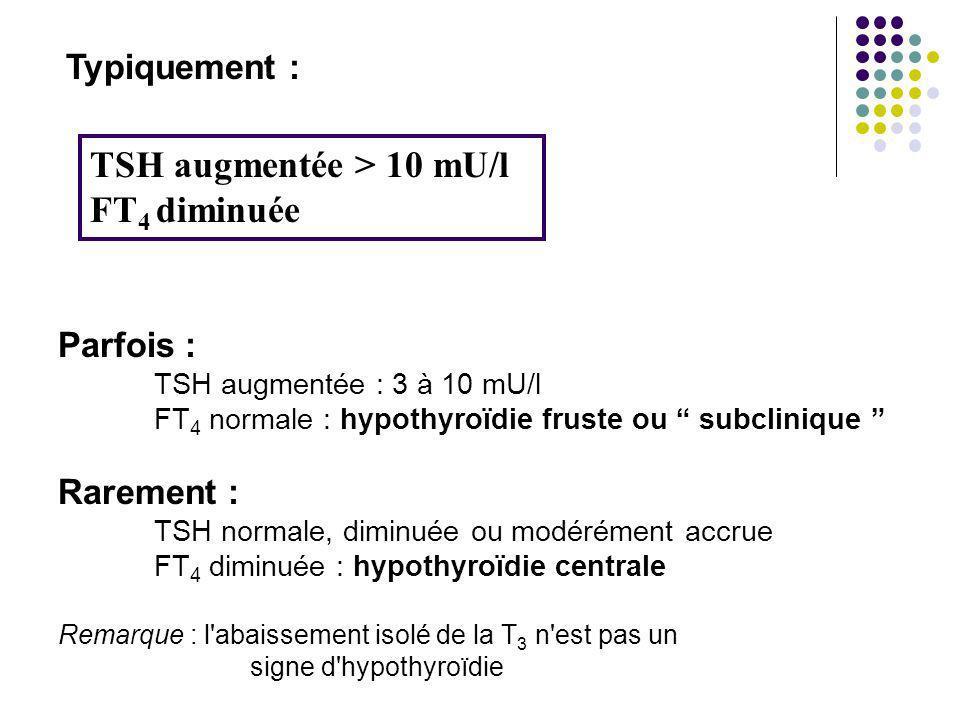 TSH augmentée > 10 mU/l FT4 diminuée
