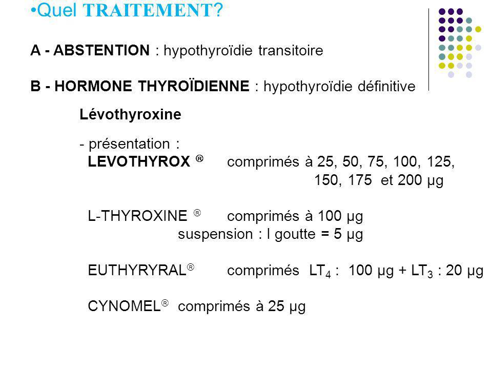 Quel TRAITEMENT A - ABSTENTION : hypothyroïdie transitoire