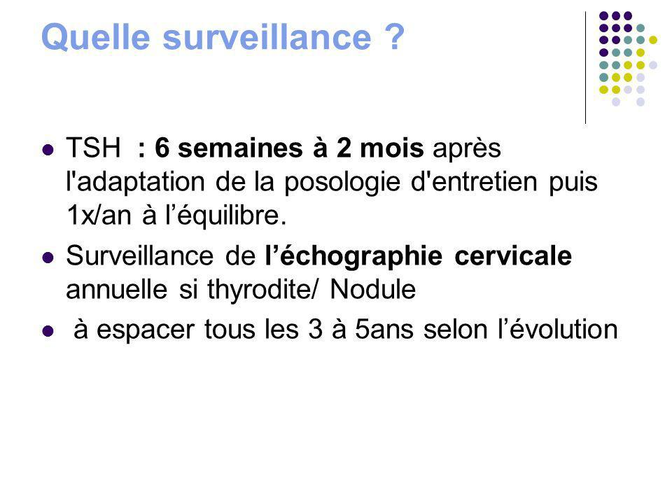 Quelle surveillance TSH : 6 semaines à 2 mois après l adaptation de la posologie d entretien puis 1x/an à l'équilibre.
