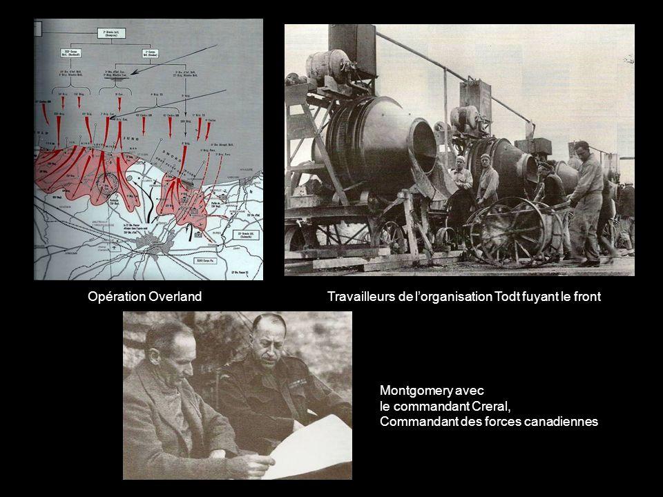 Opération Overland Travailleurs de l'organisation Todt fuyant le front. Montgomery avec. le commandant Creral,