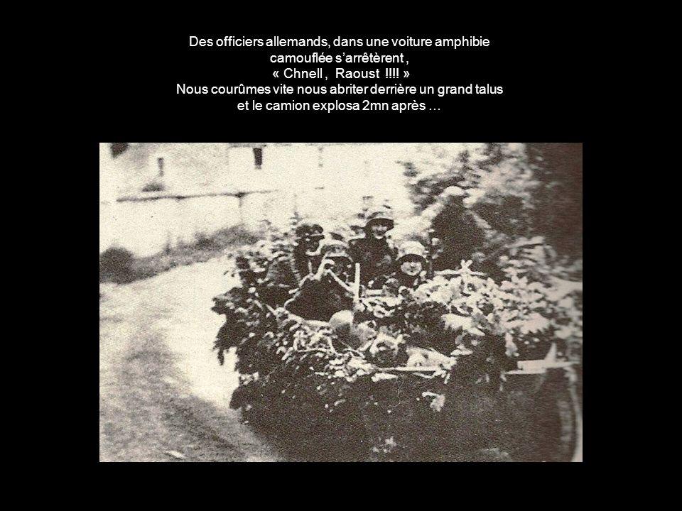 Des officiers allemands, dans une voiture amphibie camouflée s'arrêtèrent ,