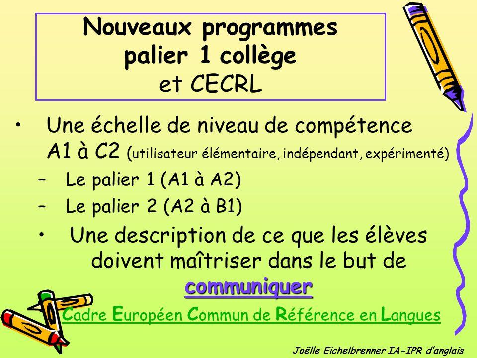Nouveaux programmes palier 1 collège et CECRL