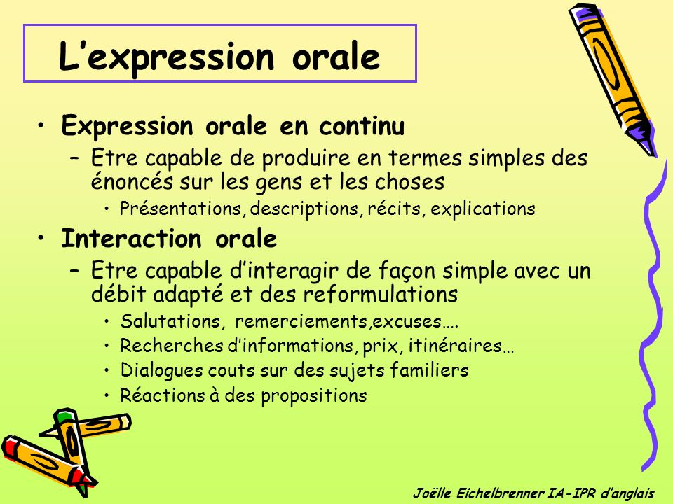 L'expression orale Expression orale en continu Interaction orale