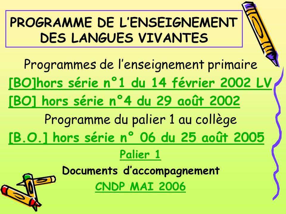 PROGRAMME DE L'ENSEIGNEMENT DES LANGUES VIVANTES
