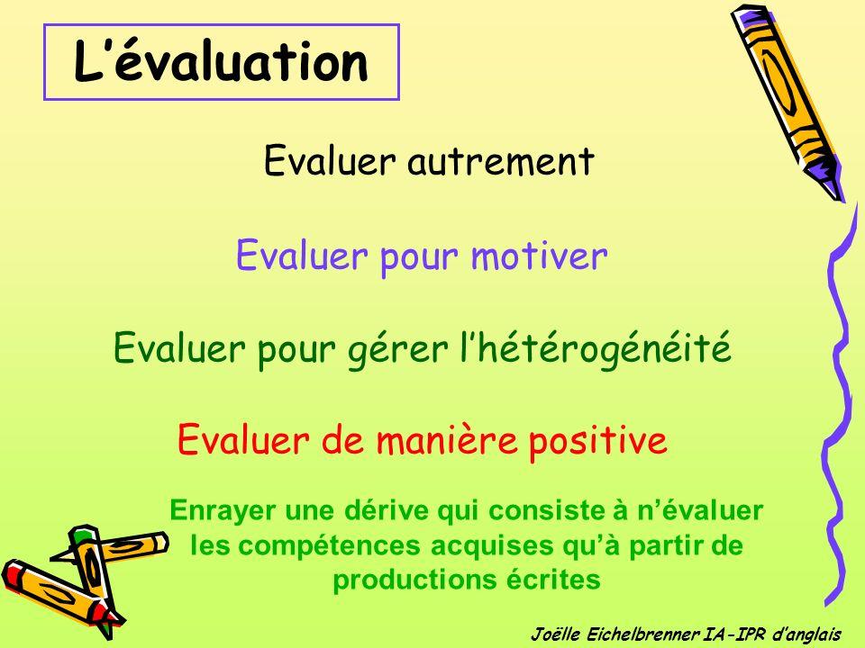 L'évaluation Evaluer autrement Evaluer pour motiver Evaluer pour gérer l'hétérogénéité Evaluer de manière positive.