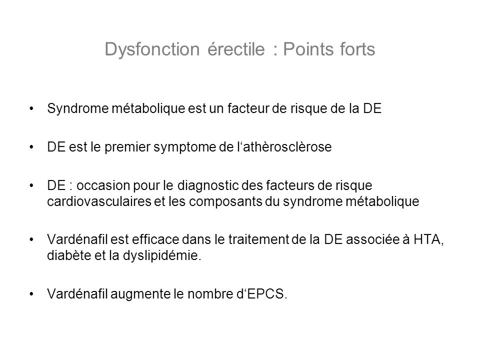 Dysfonction érectile : Points forts