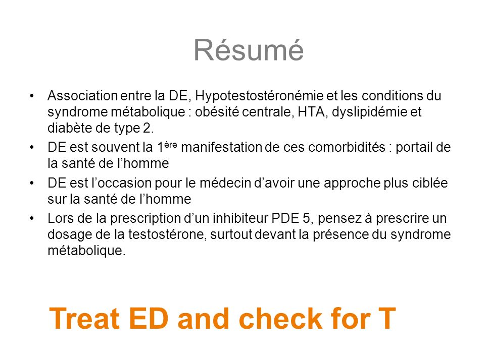 Résumé Treat ED and check for T