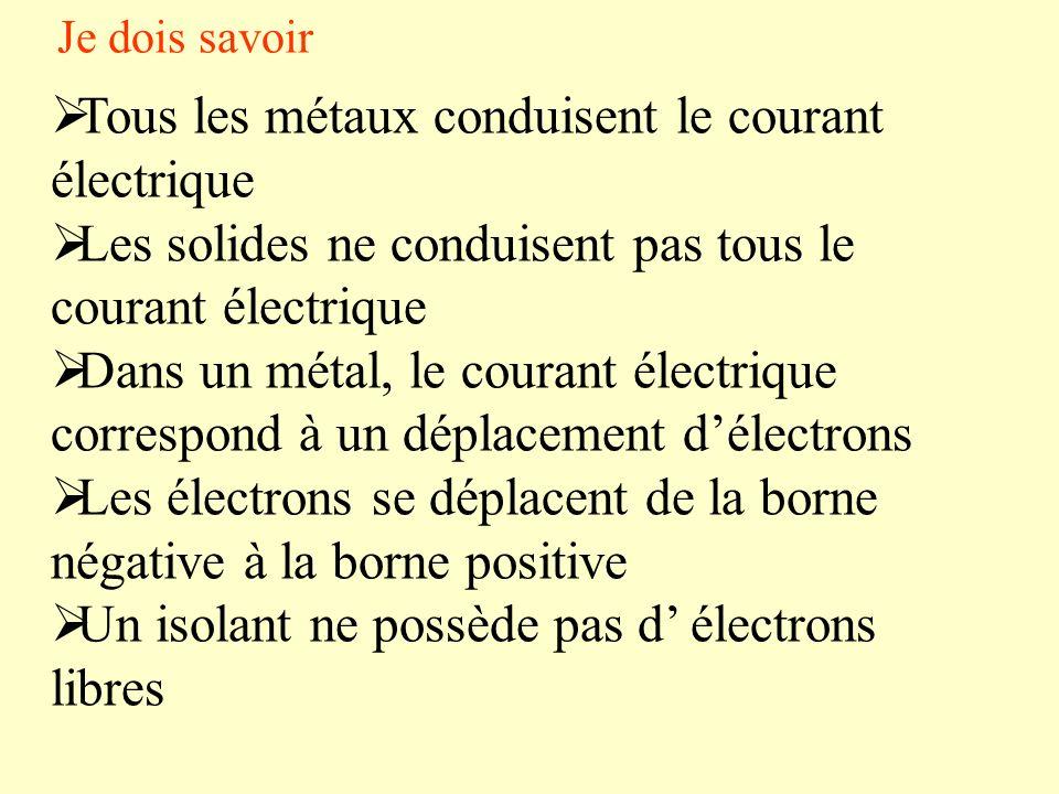 Tous les métaux conduisent le courant électrique