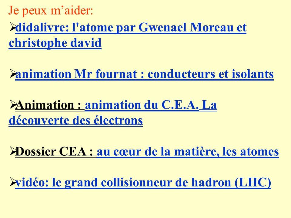 Je peux m'aider: didalivre: l atome par Gwenael Moreau et christophe david. animation Mr fournat : conducteurs et isolants.