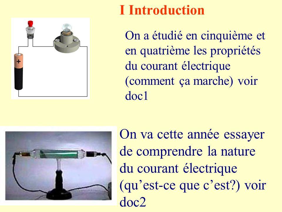 I Introduction On a étudié en cinquième et en quatrième les propriétés du courant électrique (comment ça marche) voir doc1.