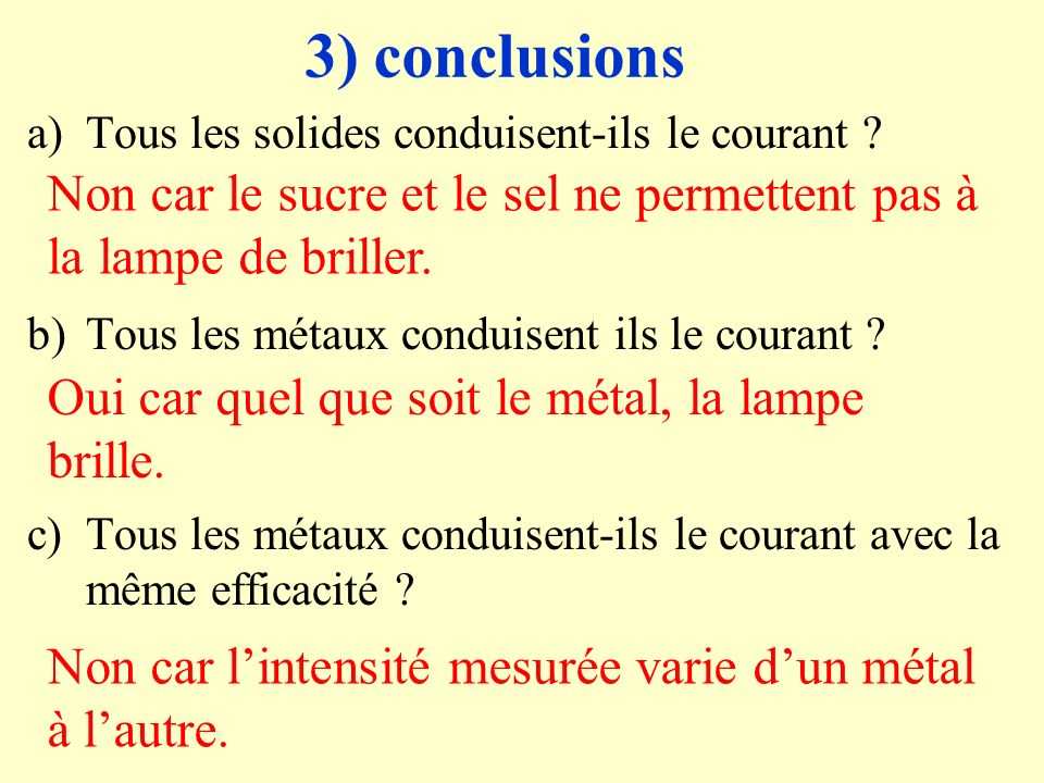 3) conclusions Tous les solides conduisent-ils le courant Tous les métaux conduisent ils le courant