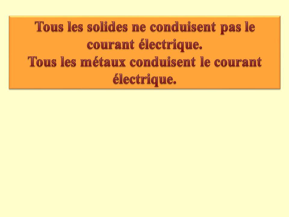 Tous les solides ne conduisent pas le courant électrique.
