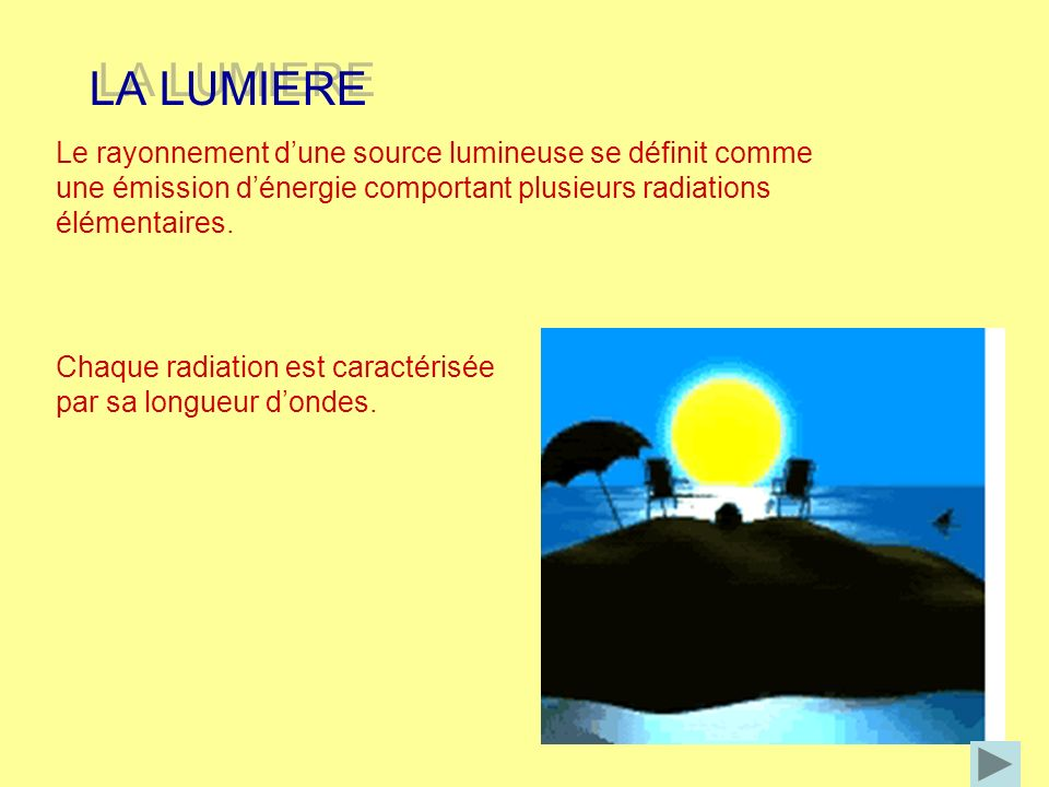LA LUMIERE Le rayonnement d'une source lumineuse se définit comme une émission d'énergie comportant plusieurs radiations élémentaires.