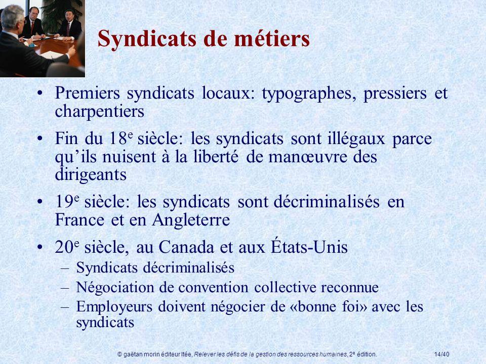 Syndicats de métiers Premiers syndicats locaux: typographes, pressiers et charpentiers.