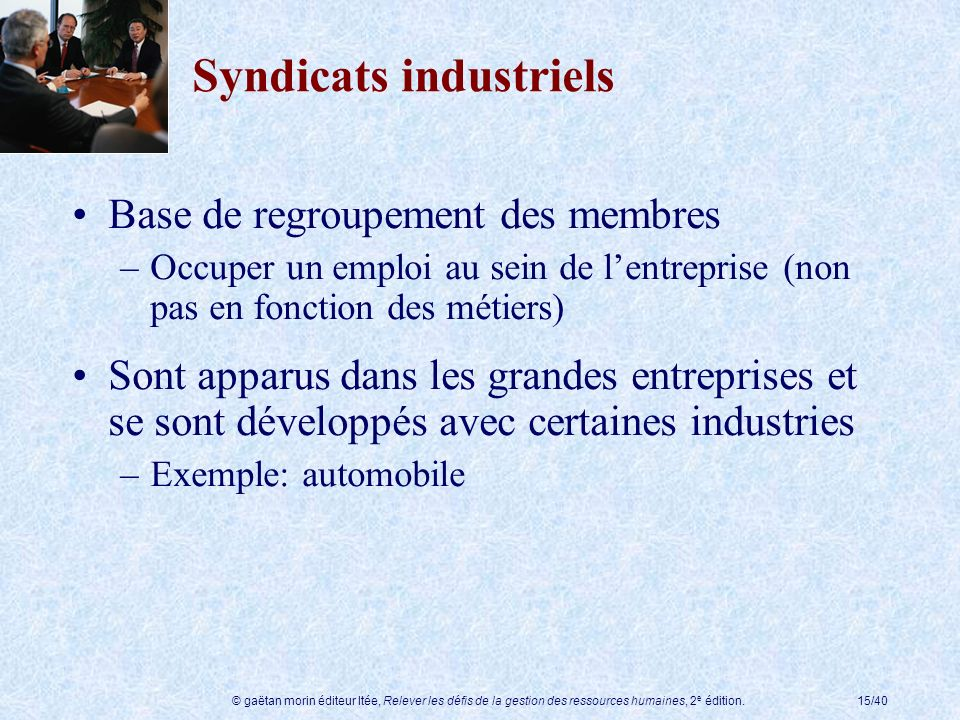 Syndicats industriels