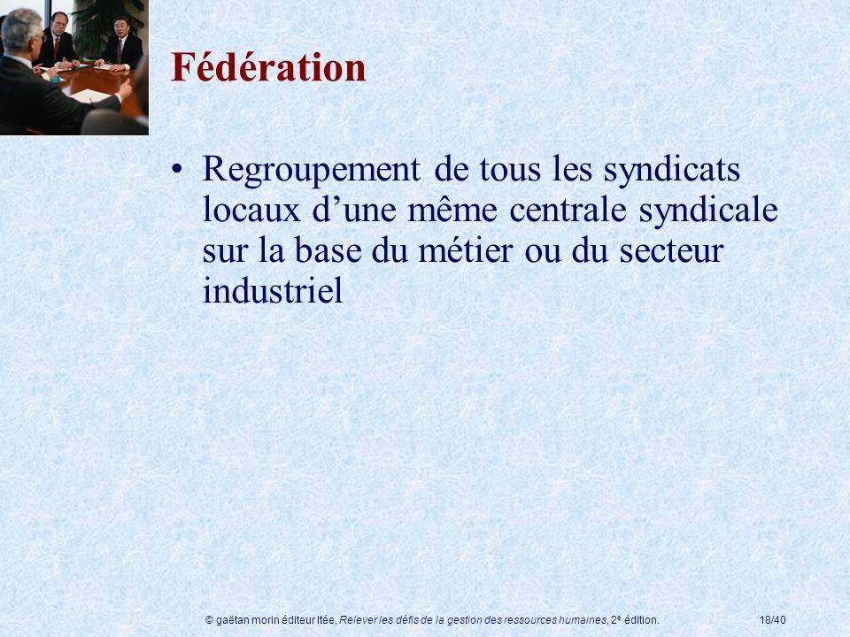 Fédération Regroupement de tous les syndicats locaux d'une même centrale syndicale sur la base du métier ou du secteur industriel.