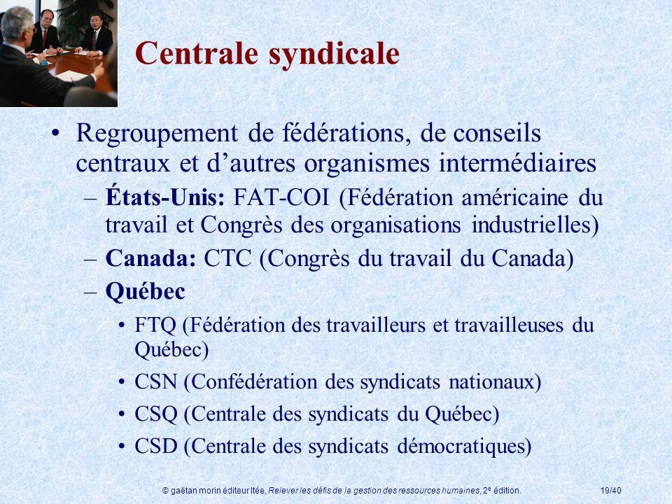 Centrale syndicale Regroupement de fédérations, de conseils centraux et d'autres organismes intermédiaires.