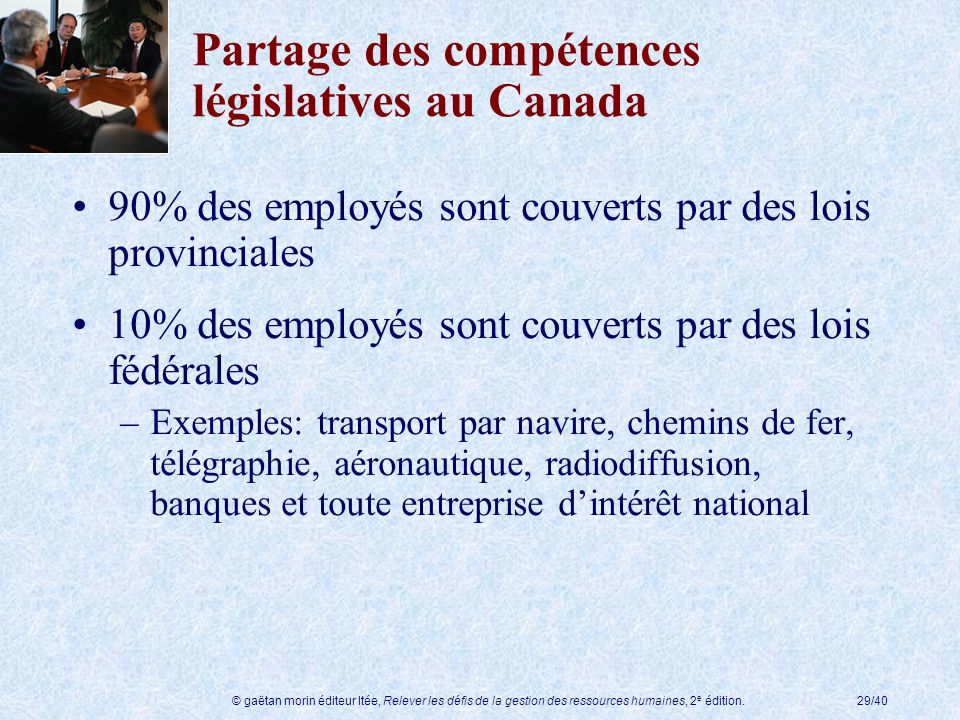 Partage des compétences législatives au Canada
