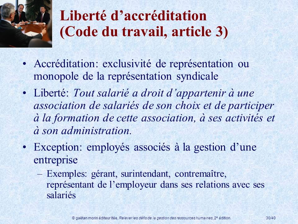 Liberté d'accréditation (Code du travail, article 3)