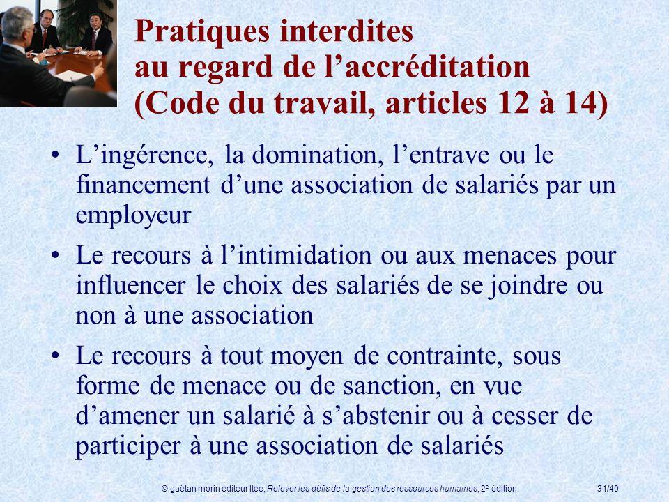 Pratiques interdites au regard de l'accréditation (Code du travail, articles 12 à 14)