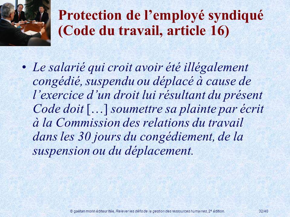Protection de l'employé syndiqué (Code du travail, article 16)