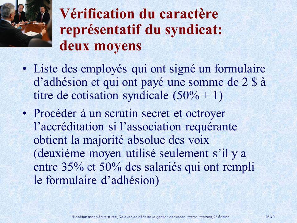 Vérification du caractère représentatif du syndicat: deux moyens