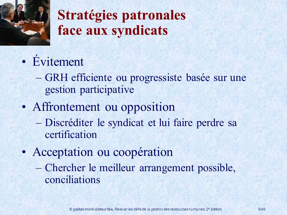 Stratégies patronales face aux syndicats